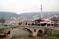 Old Stone Bridge, Prizren. The Old Stone Bridge is one of the landmarks of Prizren. It crosses the Prizrenska Bistrica Royalty Free Stock Images