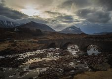 Old stone bridge on river Sligachan, Isle of Skye, Highlands of royalty free stock images