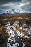 Old stone bridge on river Sligachan, Isle of Skye, Highlands of stock photography