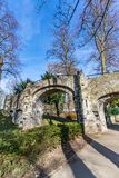 Old stone bridge with two arches in the Proosdij park. Wonderful and sunny day in Meerssen south Limburg in the Netherlands Holland stock images