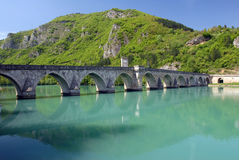 Old stone bridge in Visegrad. Built in 1571 by Mehmed Pasha Sokolovic, Bosnia, Balkan royalty free stock images