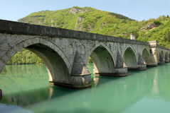 Old stone bridge in Visegrad. Old stone middle age bridge in Visegrad, Bosnia, copy space royalty free stock photography