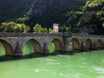 Old stone bridge in Visegrad stock photo