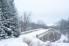Old Stone Bridge in Winter Stock Photography