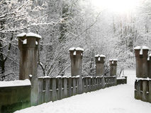Old stone bridge in the winter, Osterstein Castle Stock Photos