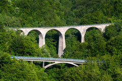 Old stone bridges in the mountain roads of Montenegro Stock Images