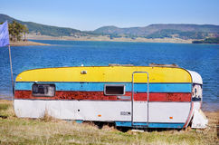 Camper at Lake. Camper at Belmeken lake in Bulgaria royalty free stock images