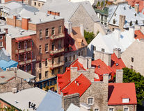 Old stone building roofs in Old Quebec City Canada Royalty Free Stock Photos
