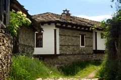 Old stone Bulgarian houses. In the village of Dolen Stock Photo