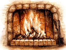 Old Stone Burning Fireplace. Hand drawn watercolor illustration. Hygge theme. Elements of home comfort.  Old Stone Burning Fireplace. Aquarelle sketch Stock Photos