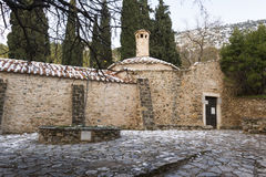 Old stone byzantine monastery in Kaisariani, Athens, Greece Stock Photo