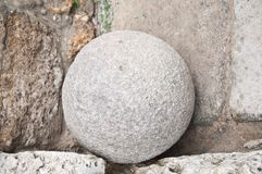Old stone cannonball Royalty Free Stock Photo
