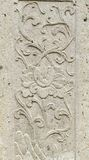 Old stone carving background on temple fence wall Stock Photography