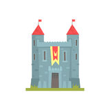 Old stone castle with towers, ancient architecture building vector Illustration Stock Image