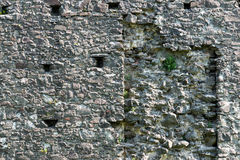 Old stone castle wall texture. With cannon windows stock image
