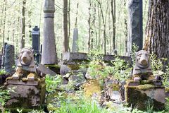 Old stone cemetery grave sphinx monuments. Closeup view royalty free stock photography