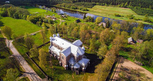 Old stone church from above, Lithuania. Kaunas region, river Neris bank royalty free stock images