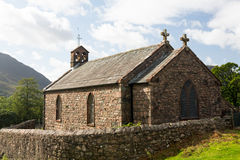 Old stone church in Buttermere Village stock photo
