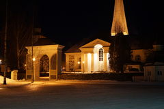 Old stone church in the dark Stock Image
