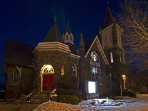 Old Stone Church Lit At Night Stock Photos