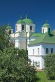 The old stone church and trees (Spaso preobrazhenskiy sobor, Nov Royalty Free Stock Images