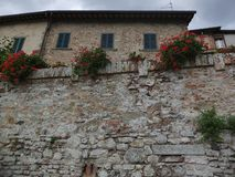 Old stone city wall Angry. Angiari Tuscany Italy, old city wall with red flowers and building with blue shutters Royalty Free Stock Photos