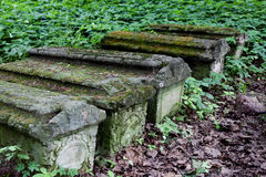Old stone coffins in the woods Royalty Free Stock Photos