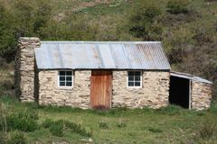 An old stone cottage in New Zealand. Royalty Free Stock Images