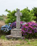 Old stone cross and blooming flowers. Old stone cross and hydrangea flowers Royalty Free Stock Photos