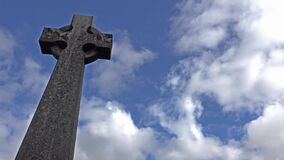 Old stone cross on grave in Scotland. UK, Europe stock video
