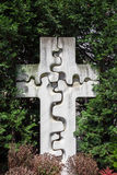 Old Stone Cross in a Graveyard stock photo