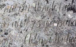 Old stone desk engraved with text Royalty Free Stock Photography