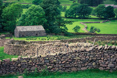 Old stone fence and a house in the Lake District, UK Royalty Free Stock Photos