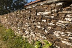 Old stone fence. Near a Hindu temple in Bandipur, Nepal Stock Photography