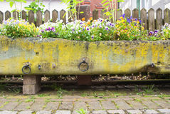 Old stone flower bed covered with moss with colorful pansies, cobblestone road and a wooden fence royalty free stock images