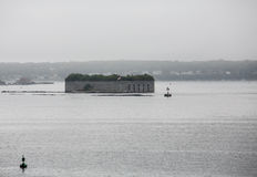 Old Stone Fort in Foggy Harbor Stock Photography
