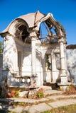 Old stone gazebo. Gazebo with columns in autumn garden, classic style Royalty Free Stock Photos