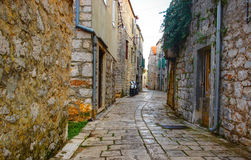 Old Stone Historical Street. Old Historical Romantic Street with Mopeds royalty free stock image
