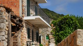 An old stone hotel. The hotel area close-up. stock footage