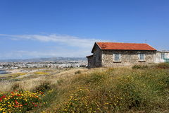 Old stone house. And flowers in spring in Paphos, Cyprus royalty free stock photography