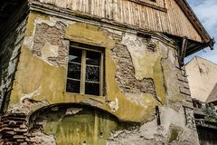 Old stone house in a antique street. From medieval city Stock Photos