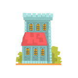 Old stone house with arched windows, ancient architecture building vector Illustration Stock Images