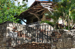 Old stone house. With old beams Royalty Free Stock Image