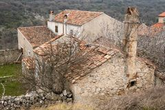 Old stone house with broken roof in Lubenice. Cres Croatia Stock Images