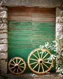 Old stone house with green door in Croatia Stock Images
