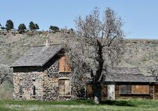 Old Stone House. This is a Spring picture of an abandoned old stone house along a creek located in Crook County, Wyoming.  This picture was taken on May 7, 2017 Stock Photos