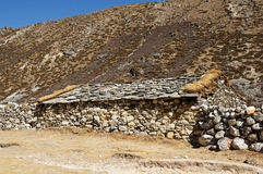 Old Stone House. Traditional old stone house in the Himalayan region of Nepal with stone roof Royalty Free Stock Images