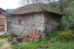Old stone house, Vevcani, Macedonia. This old stone house is found in the small village of the Republic of Vevcani, a short-lived, self-proclaimed independent Stock Photo