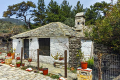 Old stone house in village of Aliki,Thassos island, Greece Royalty Free Stock Photo