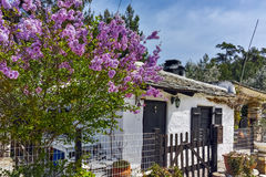 Old stone house and violet flowers in village of Aliki, Thassos island, Greece Royalty Free Stock Photography